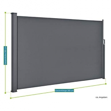 ArtLife Seitenmarkise Dubai 200 x 300 cm ausziehbar Blickdicht, Sichtschutz & Windschutz für Balkon & Terrasse, Seitenrollo mit Wandhalterung - grau - 3