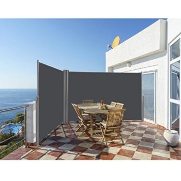 COSTWAY Doppelseitenmarkise ausziehbar, Seitenmarkise Markise Seitenwandmarkise Sichtschutz Sonnenschutz Windschutz für Garten, Veranda und Terrasse (160x600cm, Grau) - 3