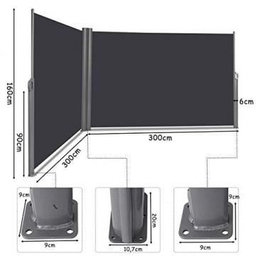 COSTWAY Doppelseitenmarkise ausziehbar, Seitenmarkise Markise Seitenwandmarkise Sichtschutz Sonnenschutz Windschutz für Garten, Veranda und Terrasse (160x600cm, Grau) - 4