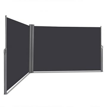 COSTWAY Doppelseitenmarkise ausziehbar, Seitenmarkise Markise Seitenwandmarkise Sichtschutz Sonnenschutz Windschutz für Garten, Veranda und Terrasse (160x600cm, Grau) - 1