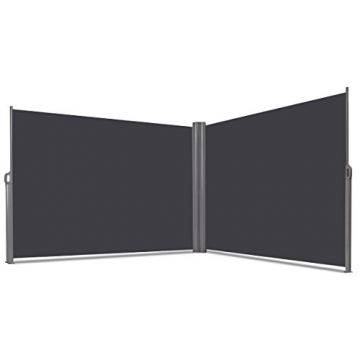 COSTWAY Doppelseitenmarkise ausziehbar, Seitenmarkise Markise Seitenwandmarkise Sichtschutz Sonnenschutz Windschutz für Garten, Veranda und Terrasse (160x600cm, Grau) - 6