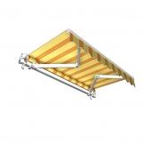 Jarolift Markise mit Volant - Gelenkarm Markisen f. Balkon / 250 x 150 cm/gelb/orange (2,50 x 1,50 m) - 1