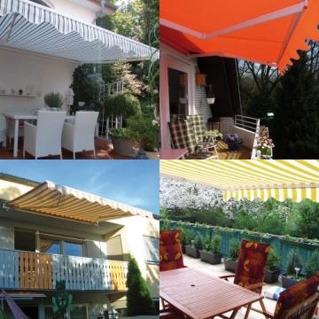 Jarolift Markise mit Volant - Gelenkarm Markisen f. Balkon / 250 x 150 cm/gelb/orange (2,50 x 1,50 m) - 6