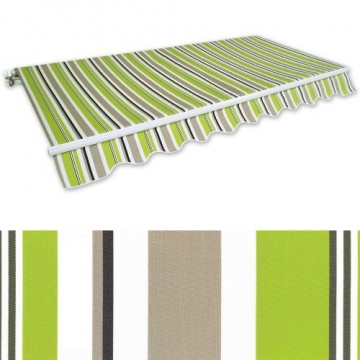 Jawoll Gelenkarm-Markise 4 x 2,5 m grün-braun (Profilfarbe: Weiß) Sonnenschutz Alu Markise Schattenspender Sonnensegel - 1