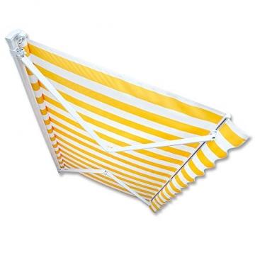 Jawoll Gelenkarm-Markise 5,0 x 3,0 m Gelb-Weiß (Profilfarbe: Weiß) Sonnenschutz Alu Markise Schattenspender Sonnensegel - 2