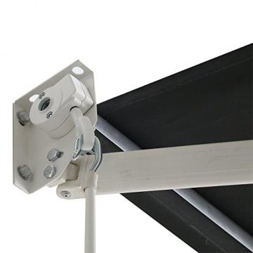 MCTECH Aluminium Markise Sonnenschutz Kassettenmarkise Gelenkarmmarkise Markisenabdeckung Klemmmarkise Balkonmarkise Wasserdicht (250X200 cm, Dunkelgrau) - 4