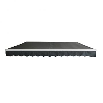MCTECH Aluminium Markise Sonnenschutz Kassettenmarkise Gelenkarmmarkise Markisenabdeckung Klemmmarkise Balkonmarkise Wasserdicht (250X200 cm, Dunkelgrau) - 1