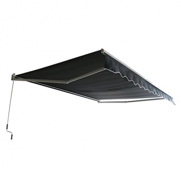 MCTECH Aluminium Markise Sonnenschutz Kassettenmarkise Gelenkarmmarkise Markisenabdeckung Klemmmarkise Balkonmarkise Wasserdicht (250X200 cm, Dunkelgrau) - 6