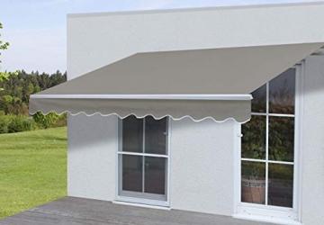 Mendler Alu-Markise T792, Gelenkarmmarkise Sonnenschutz 5x3m ~ Polyester, grau-braun - 2