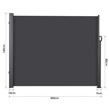 MVPower Seitenmarkise Alu 300 x 160 cm (L x H) - 280 g/m² - Ausziehbar Sonnenschutz Sichtschutz für Balkon, Terrasse, Garten, Seitenwandmarkise, Seitenrollo - 4