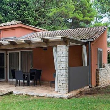 MVPower Seitenmarkise Alu 300 x 160 cm (L x H) - 280 g/m² - Ausziehbar Sonnenschutz Sichtschutz für Balkon, Terrasse, Garten, Seitenwandmarkise, Seitenrollo - 6