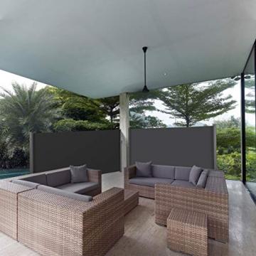 MVPower Seitenmarkise Alu 300 x 160 cm (L x H) - 280 g/m² - Ausziehbar Sonnenschutz Sichtschutz für Balkon, Terrasse, Garten, Seitenwandmarkise, Seitenrollo - 7