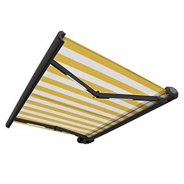 Nemaxx FCA35X Vollkassettenmarkise 3,5m x 2,5m gelb-weiß: Kassettenmarkise für optimale Beschattung aus UV-beständigem und wetterfestem Acryltuch in Grauer Kassette - nach DIN EN 13565 - 2