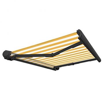 Nemaxx FCA35X Vollkassettenmarkise 3,5m x 2,5m gelb-weiß: Kassettenmarkise für optimale Beschattung aus UV-beständigem und wetterfestem Acryltuch in Grauer Kassette - nach DIN EN 13565 - 3