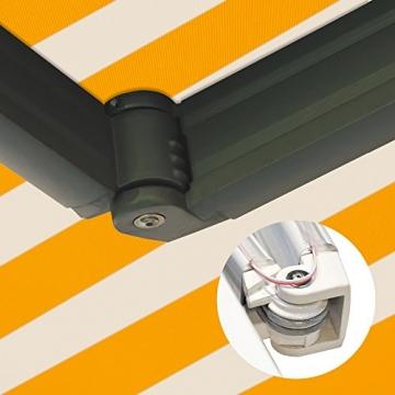 Nemaxx FCA35X Vollkassettenmarkise 3,5m x 2,5m gelb-weiß: Kassettenmarkise für optimale Beschattung aus UV-beständigem und wetterfestem Acryltuch in Grauer Kassette - nach DIN EN 13565 - 7