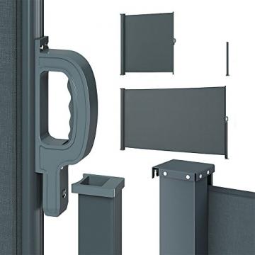 OSKAR Seitenmarkise Sichtschutz Sonnenschutz Seitenrollo Markise Anthrazit (180x350cm) - 3