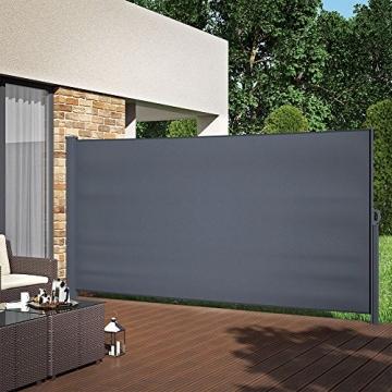 OSKAR Seitenmarkise Sichtschutz Sonnenschutz Seitenrollo Markise Anthrazit (180x350cm) - 4
