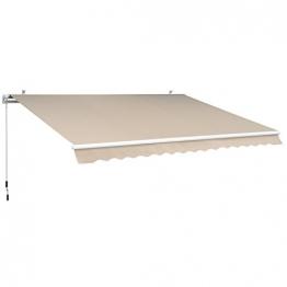 Outsunny Gelenkarmmarkise Sonnenschutz Balkon Creme 2,95x2,5m Markise - 1