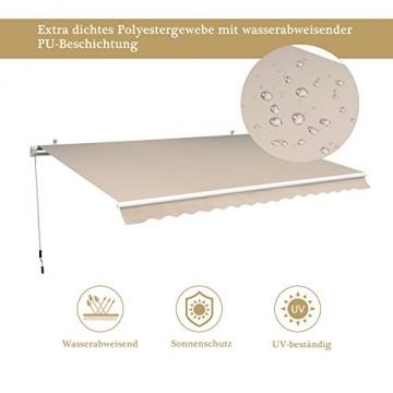 Outsunny Gelenkarmmarkise Sonnenschutz Balkon Creme 2,95x2,5m Markise - 3