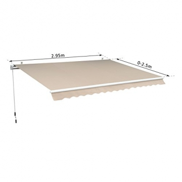 Outsunny Gelenkarmmarkise Sonnenschutz Balkon Creme 2,95x2,5m Markise - 7