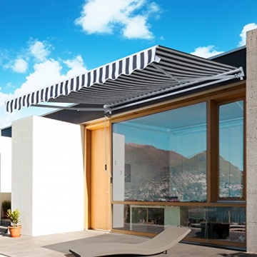 Outsunny Gelenkarmmarkise Sonnenschutz Handkurbel Balkon Alu Grau+Weiß 2,95x2,5m Markise - 2