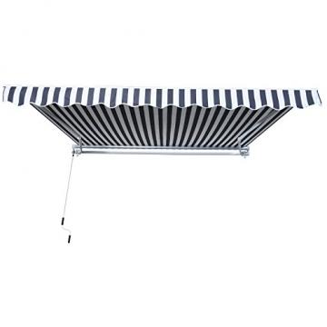 Outsunny Gelenkarmmarkise Sonnenschutz Handkurbel Balkon Alu Grau+Weiß 2,95x2,5m Markise - 3