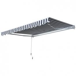 Outsunny Gelenkarmmarkise Sonnenschutz Handkurbel Balkon Alu Grau+Weiß 2,95x2,5m Markise - 1