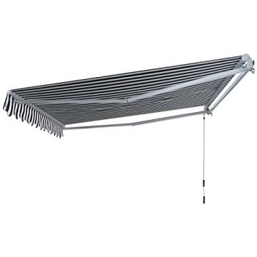 Outsunny Gelenkarmmarkise Sonnenschutz Handkurbel Balkon Alu Grau+Weiß 2,95x2,5m Markise - 4