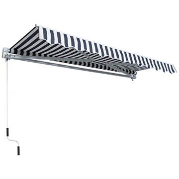 Outsunny Gelenkarmmarkise Sonnenschutz Handkurbel Balkon Alu Grau+Weiß 2,95x2,5m Markise - 5