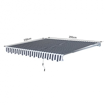 Outsunny Gelenkarmmarkise Sonnenschutz Handkurbel Balkon Alu Grau+Weiß 2,95x2,5m Markise - 7