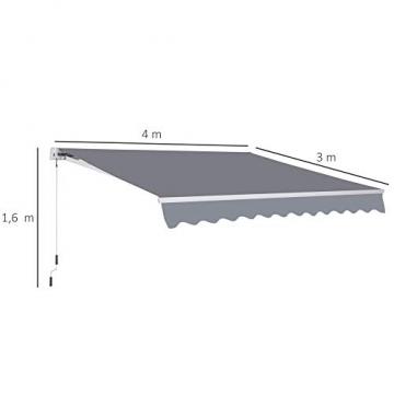 Outsunny Markise Alu Gelenkarmmarkise Sonnenschutz Handkurbel (Breite: 400 cm, Länge: 300 cm) - 5