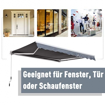 Outsunny Markise Alu Gelenkarmmarkise Sonnenschutz Handkurbel (Breite: 400 cm, Länge: 300 cm) - 7