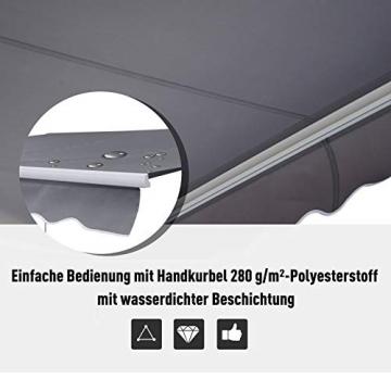 Outsunny Markise Alu Gelenkarmmarkise Sonnenschutz Handkurbel (Breite: 400 cm, Länge: 300 cm) - 8