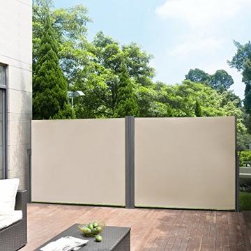 [pro.tec] Doppelte Seitenmarkise 2 x 160 x 300 cm Sandfarben Beige Sichtschutz Markise Sonnen- & Windschutz - 2
