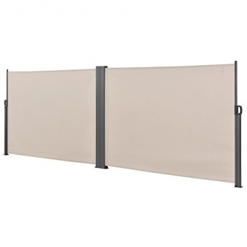 [pro.tec] Doppelte Seitenmarkise 2 x 160 x 300 cm Sandfarben Beige Sichtschutz Markise Sonnen- & Windschutz - 3