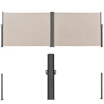 [pro.tec] Doppelte Seitenmarkise 2 x 160 x 300 cm Sandfarben Beige Sichtschutz Markise Sonnen- & Windschutz - 4