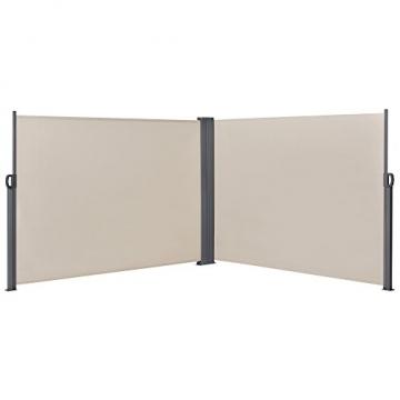 [pro.tec] Doppelte Seitenmarkise 2 x 160 x 300 cm Sandfarben Beige Sichtschutz Markise Sonnen- & Windschutz - 1