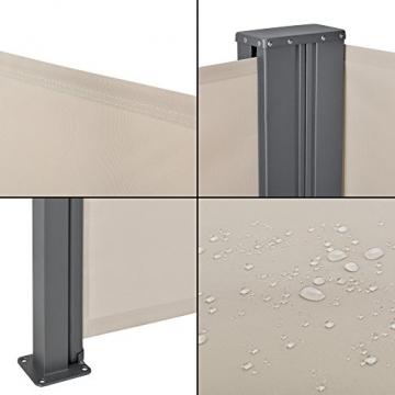 [pro.tec] Doppelte Seitenmarkise 2 x 160 x 300 cm Sandfarben Beige Sichtschutz Markise Sonnen- & Windschutz - 7