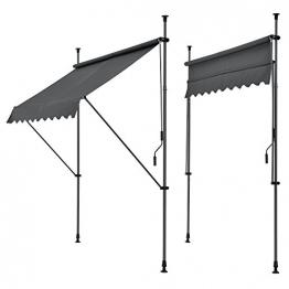[pro.tec] Klemmmarkise - Grau - 150 x 120 x 200-300cm - Markise Balkonmarkise Sonnenschutz - ohne Bohren - 1