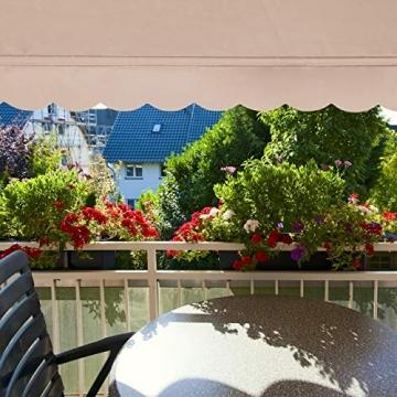 Relaxdays Klemmmarkise, Balkon Sonnenschutz, einziehbar, Fallarm, ohne Bohren, höhenverstellbar, 200 cm breit, beige - 2