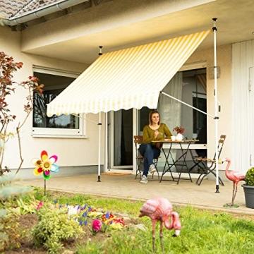 Relaxdays Klemmmarkise, Balkon Sonnenschutz, einziehbar, Fallarm, ohne Bohren, höhenverstellbar, 300 cm breit, gelb gestreift - 2
