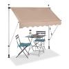Relaxdays Klemmmarkise, Balkon Sonnenschutz, einziehbar, Fallarm, ohne Bohren, höhenverstellbar, 200 cm breit, beige - 1