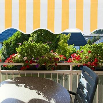 Relaxdays Klemmmarkise, Balkon Sonnenschutz, einziehbar, Fallarm, ohne Bohren, höhenverstellbar, 300 cm breit, gelb gestreift - 3