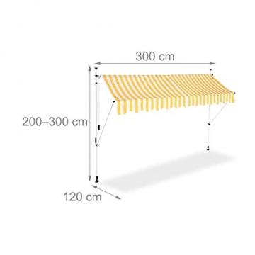 Relaxdays Klemmmarkise, Balkon Sonnenschutz, einziehbar, Fallarm, ohne Bohren, höhenverstellbar, 300 cm breit, gelb gestreift - 4