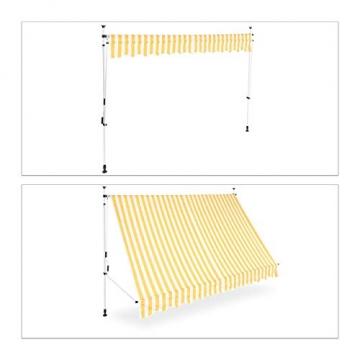 Relaxdays Klemmmarkise, Balkon Sonnenschutz, einziehbar, Fallarm, ohne Bohren, höhenverstellbar, 300 cm breit, gelb gestreift - 5