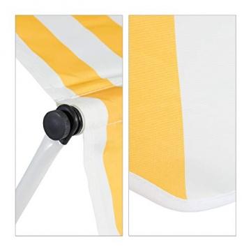 Relaxdays Klemmmarkise, Balkon Sonnenschutz, einziehbar, Fallarm, ohne Bohren, höhenverstellbar, 300 cm breit, gelb gestreift - 6