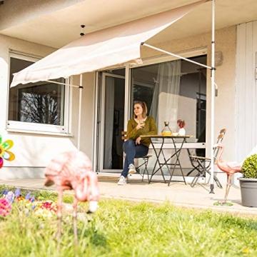 Relaxdays Klemmmarkise, Balkon Sonnenschutz, einziehbar, Fallarm, ohne Bohren, höhenverstellbar, 200 cm breit, beige - 3