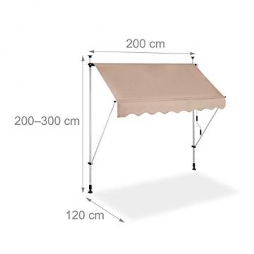 Relaxdays Klemmmarkise, Balkon Sonnenschutz, einziehbar, Fallarm, ohne Bohren, höhenverstellbar, 200 cm breit, beige - 4