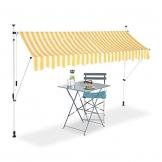 Relaxdays Klemmmarkise, Balkon Sonnenschutz, einziehbar, Fallarm, ohne Bohren, höhenverstellbar, 300 cm breit, gelb gestreift - 1