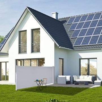 Relaxdays Seitenmarkise ausziehbar, Rollo für Balkon, Garten, Wand, UV-beständiger Sichtschutz HxB: 180 x 300 cm, grau - 2